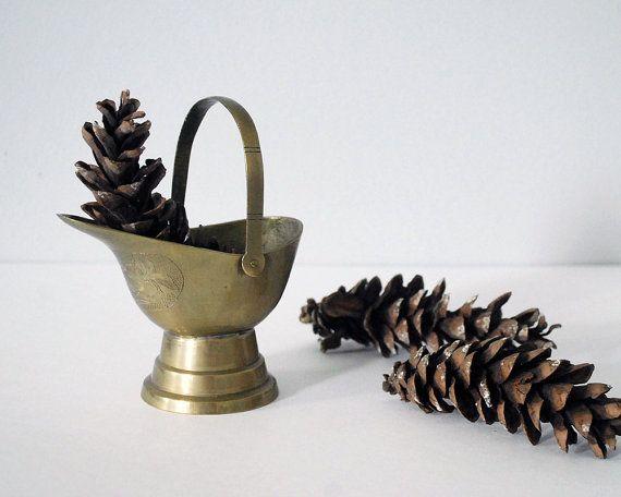 Brass Coal Scuttle Chinoiserie Asian Decor by CalloohCallay