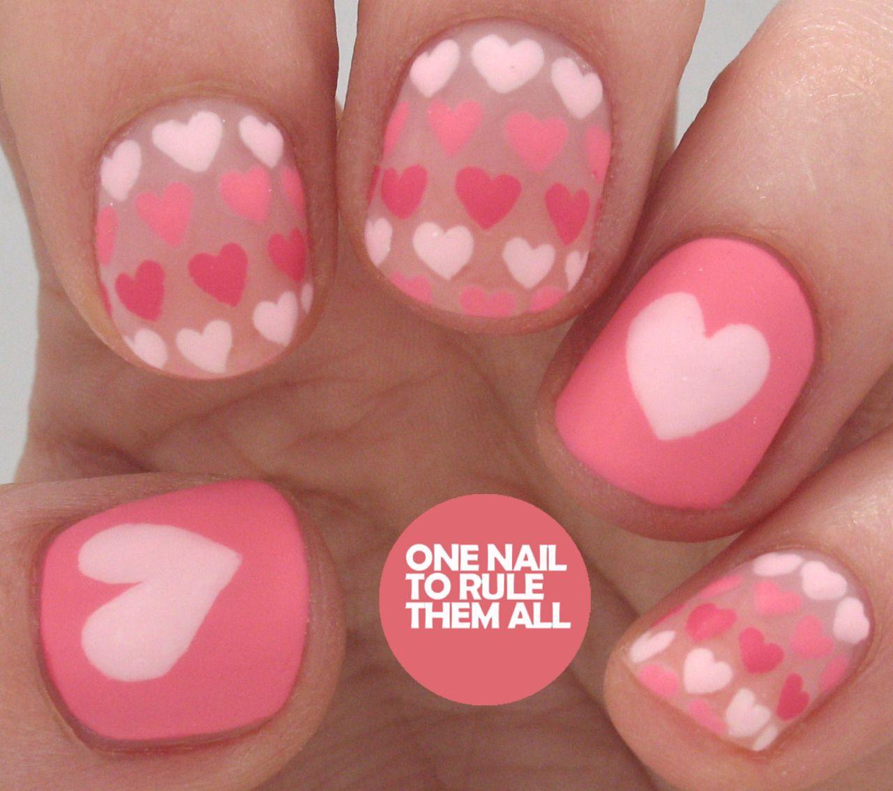 Gradient Hearts for Divine Caroline | Nail art desing | Pinterest
