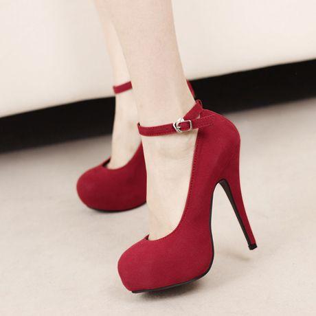 Vogue Round Toe Platform Red Suede Ankle Strap Stiletto Heel Pumps ...