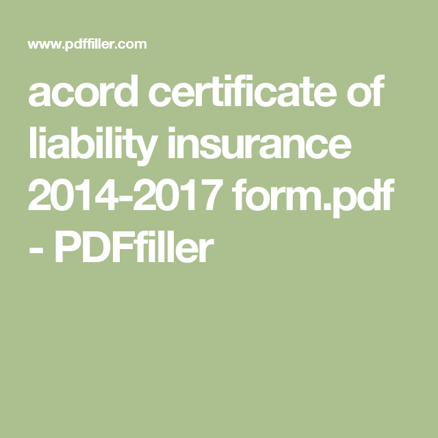 Acord Certificate Of Liability Insurance  FormPdf