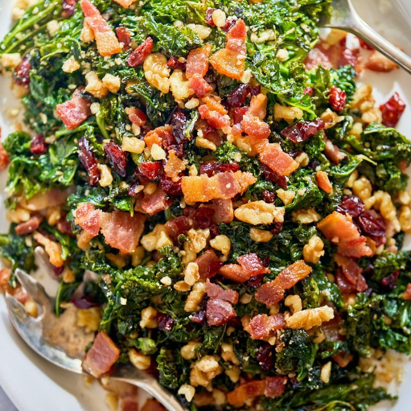 Healthy Sauteed Kale Salad Recipe With Bacon Walnuts And Cranberries Kale Salad Recipe Salad Recipes With Bacon Kale And Cabbage Recipe Cranberry Kale Salad