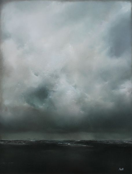 """I'd love to commission an Adam Hall painting.  I LOVE the way he paints clouds and the light that illuminates them...and I'd like one like this with waves of the ocean below...maybe not so stormy and dark looking...I'd commission one that's a bit 'happier' - ha. (""""Immersion"""" 18x24 oil on panel adamhallart.com)"""