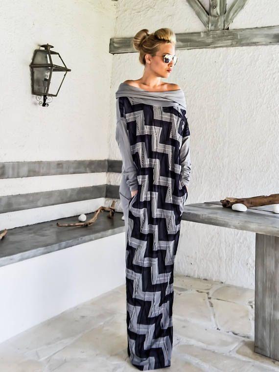 Gray   Print Asymmetric Long Sleeve Maxi Dress Kaftan   Asymmetric Plus Size  Dress   Oversize Loose Dress    35229 d1e354712b