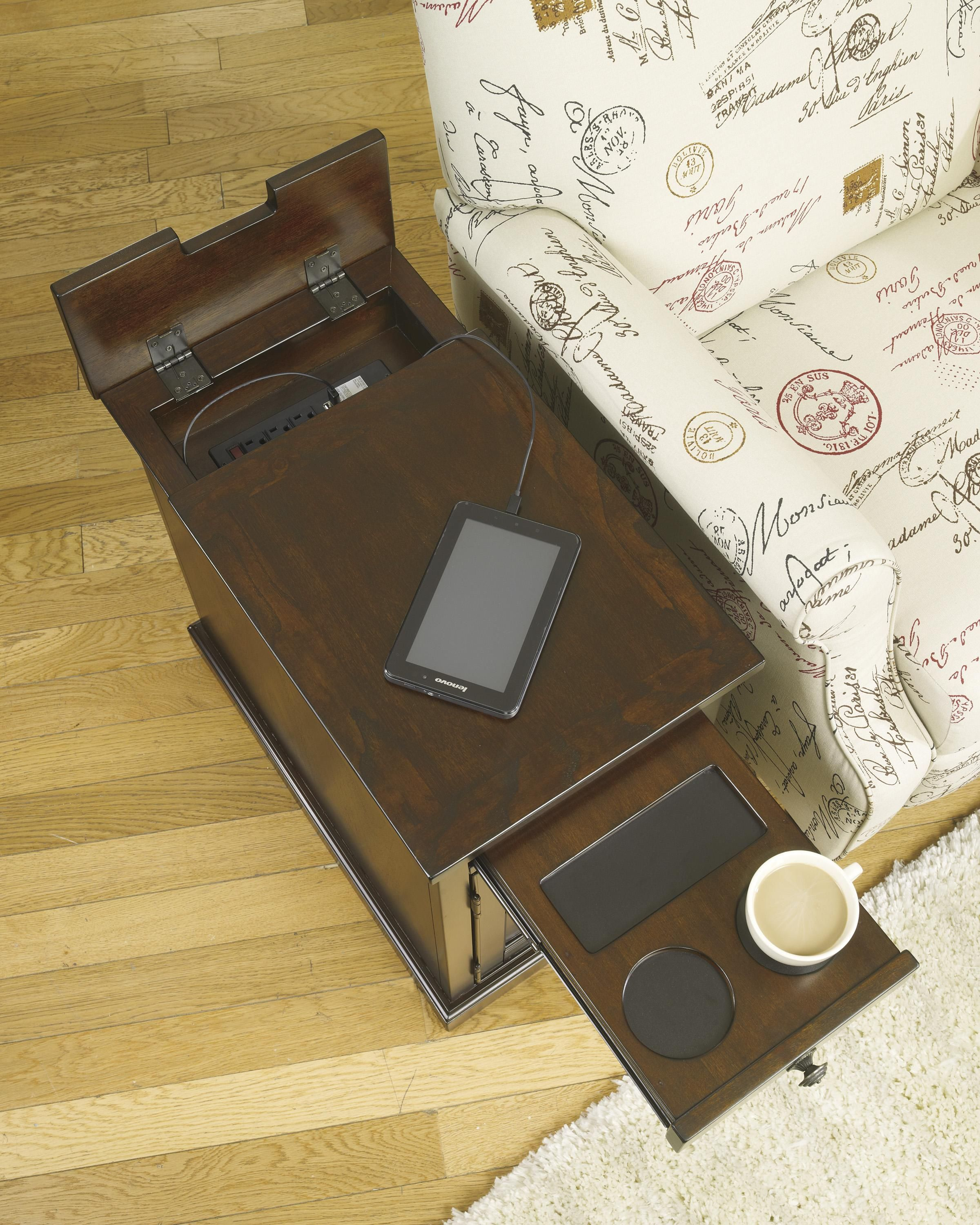 Superb Laflorn Chair Side End Table With Power Outlets U0026 Pull Out Shelf   Belfort  Furniture   End Table