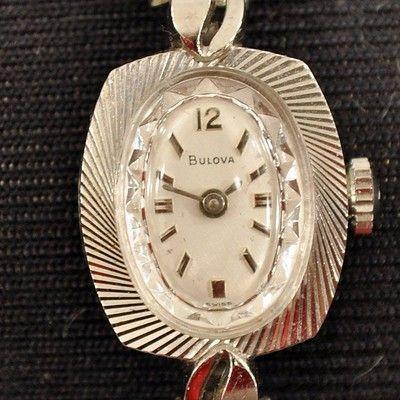 Vintage Bulova Swiss 14k White Gold Ladies Wrist Watch
