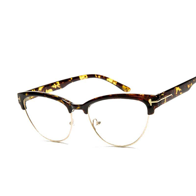 Wanita merek desainer Elegan Setengah bingkai cat eye Kacamata ...