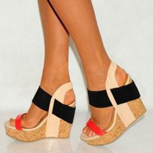 910a7b0bb3d1e Color Block Wooden Heel Wedge Sandals in 2019