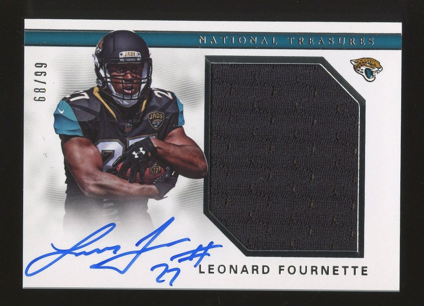 2017 National Treasures Leonard Fournette Jaguars Rc Rookie Jersey Auto 99 Footballcards National Treasure Jaguars Football Cards