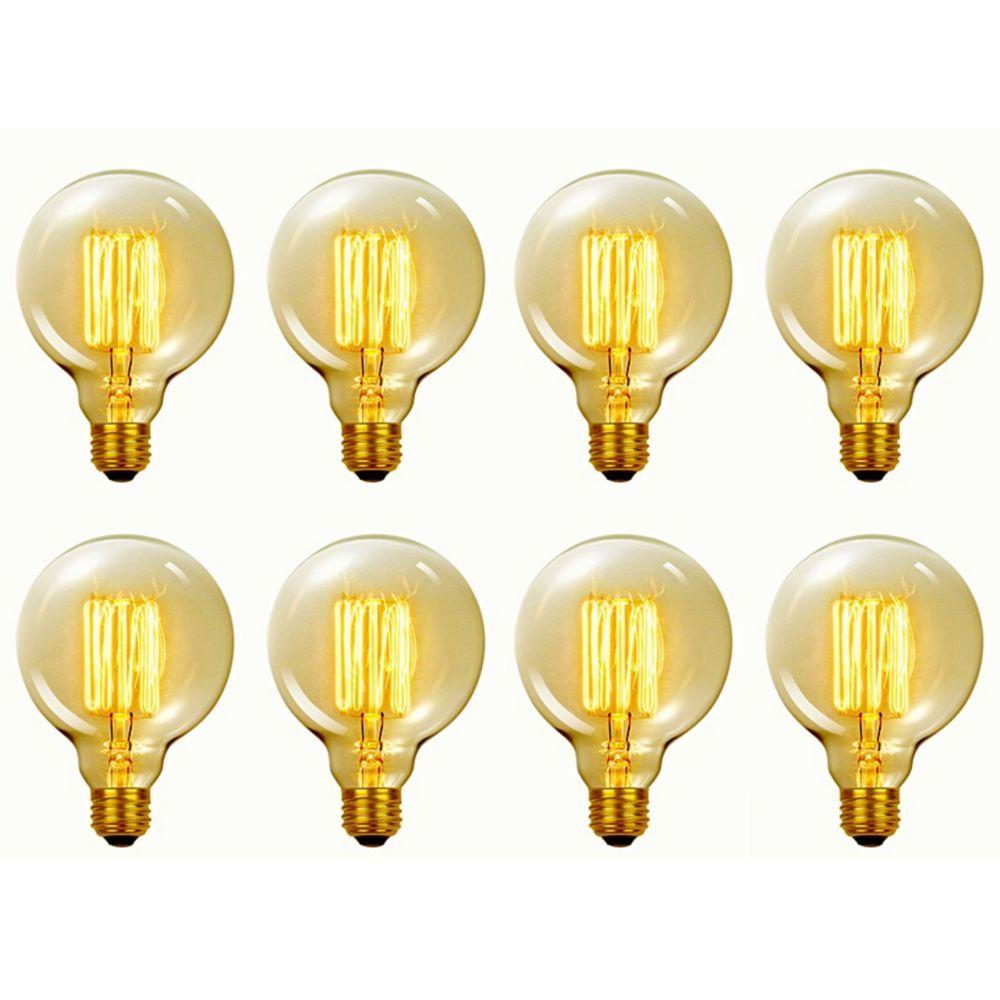 31320 60w Vintage Edison G30 Vanity Tungsten Incandescent Filament Light Bulbs E26 Base 8 Pack Filament Bulb Lighting Light Bulb Globe Electric