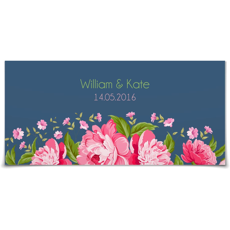 Antwortkarte Blütenzauber in Taube Postkarte lang Hochzeit