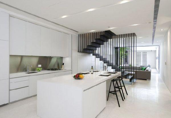 white kicthen design in terrace house design in singapore photo