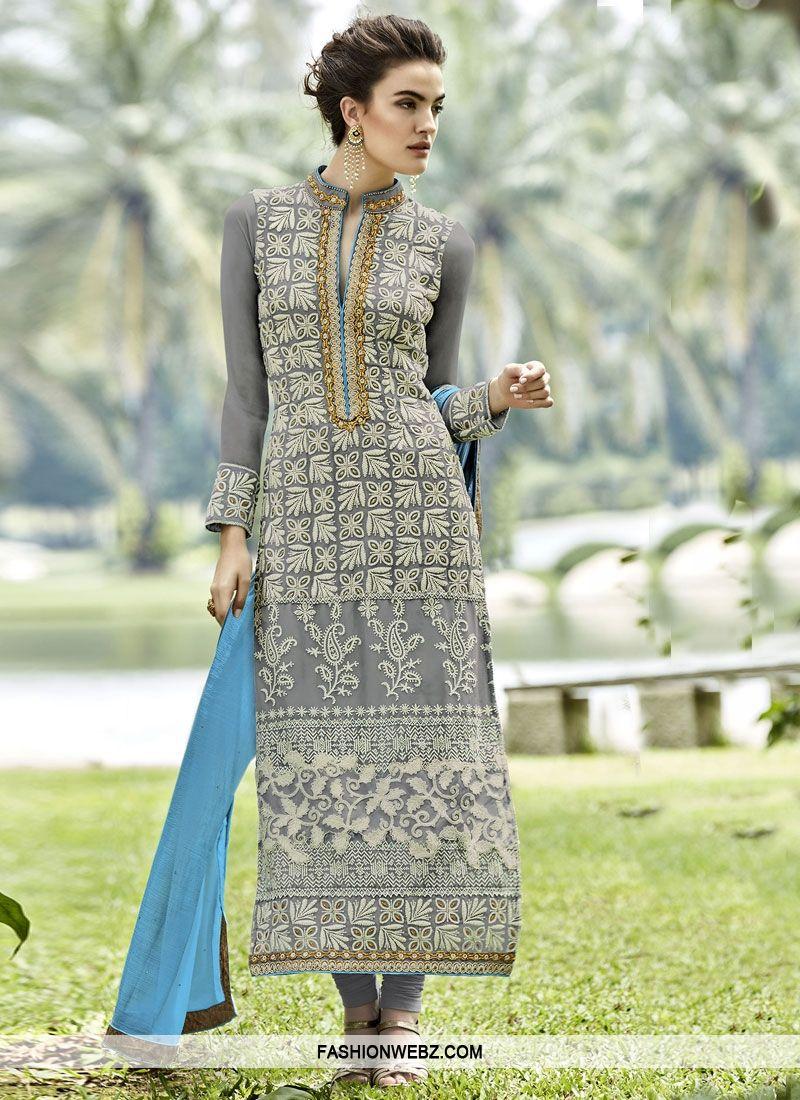 30c26e7992 Dignified Embroidery Work Long Length Pakistani Salwar Kameez | Desi ...