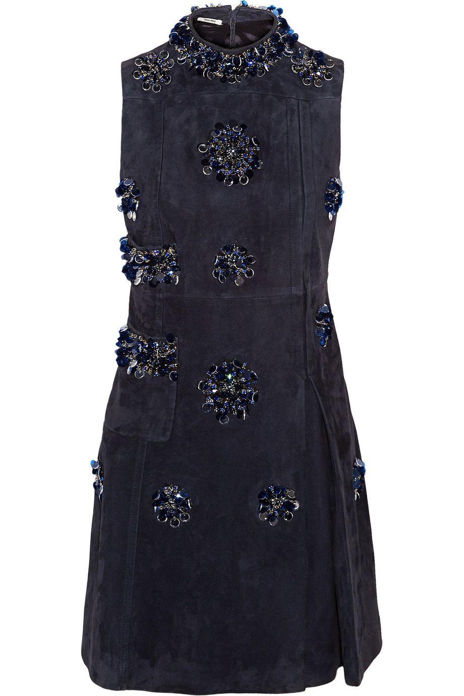 MIU MIU Embellished Suede Mini Dress. #miumiu #cloth #dress