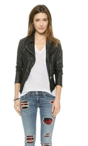 Classic black biker jackets go hand in hand with boyfriend jeans and a statement necklace. Vegan Biker Jacket | Vegan Fashion #vegan #veganfashion #veganbikerjacket #bikerjacket