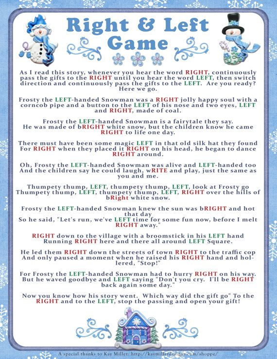add some fun and keep your family or guests entertained with this christmas right left storygame heres how it goes each family