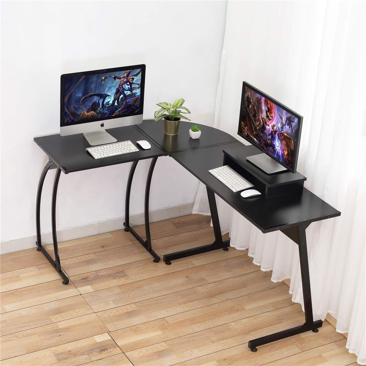 Computer Desk Dosleeps L Shaped Large Corner Pc Laptop Study Table Workstation Gaming Desk For Home And Office Free Monitor Stand Wood Metal Black Wood G In 2020 Computer