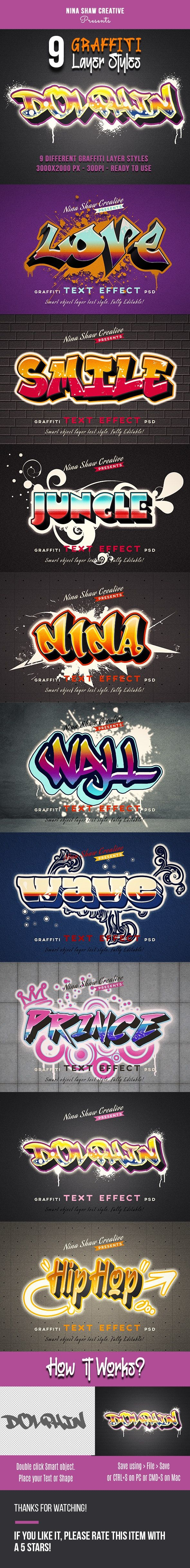 Graffiti Layer Styles in 2020 Graffiti text, Layer style