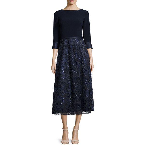 Theia Embellished-Skirt Midi Cocktail Dress (4,360 MXN) ❤ liked on ...
