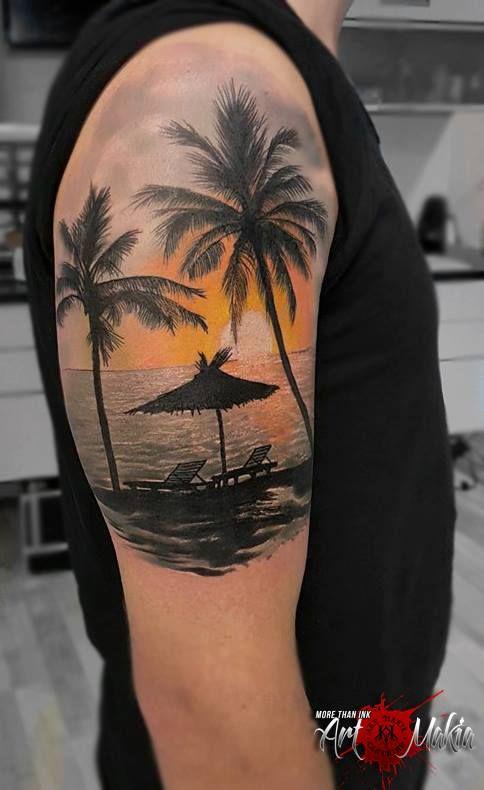 By Lucky Beach Tattoo Sunset Tattoos Palm Tattoos