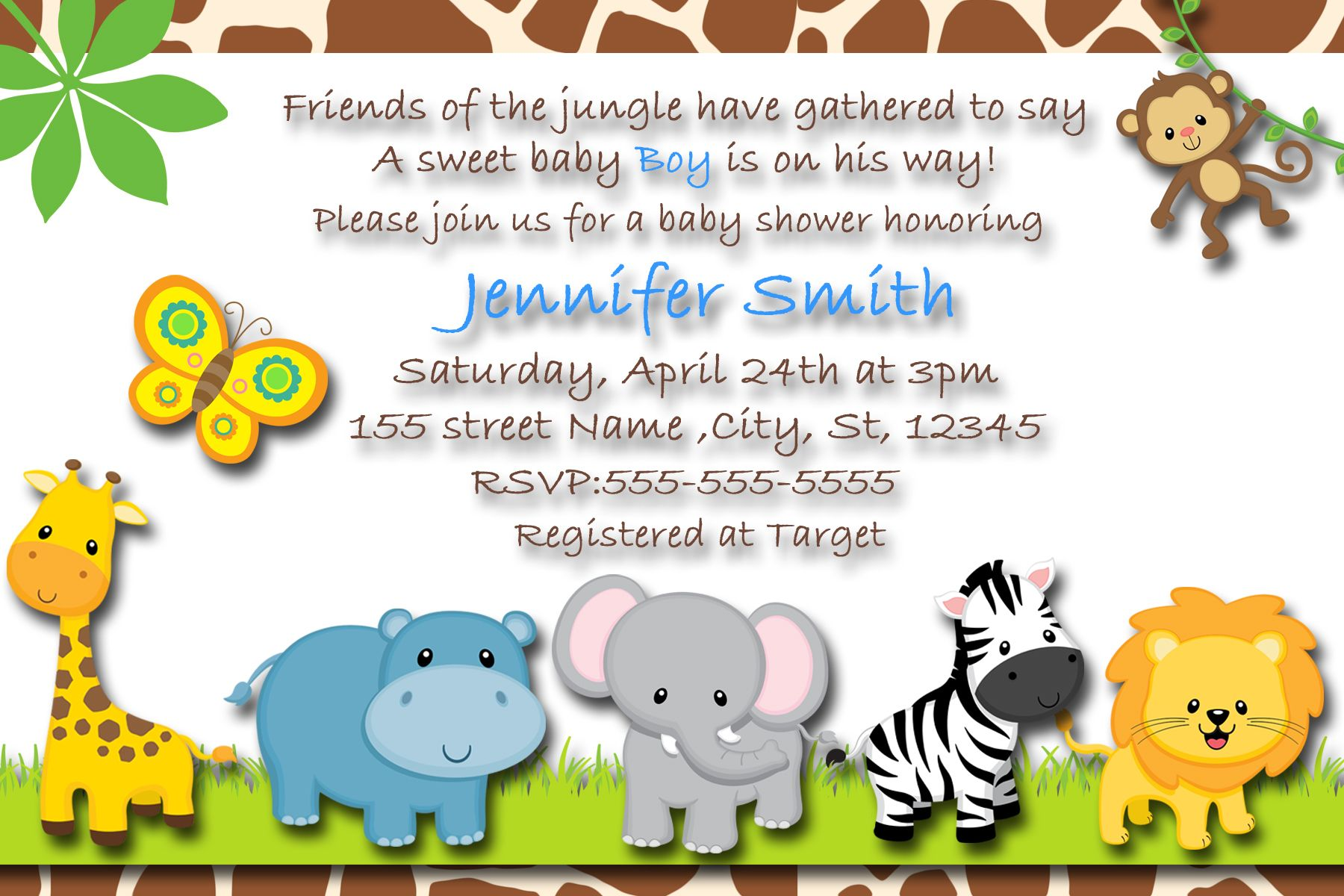 Safari Baby Boy Invitations, Baby Shower Safari Themed Invitations, Baby