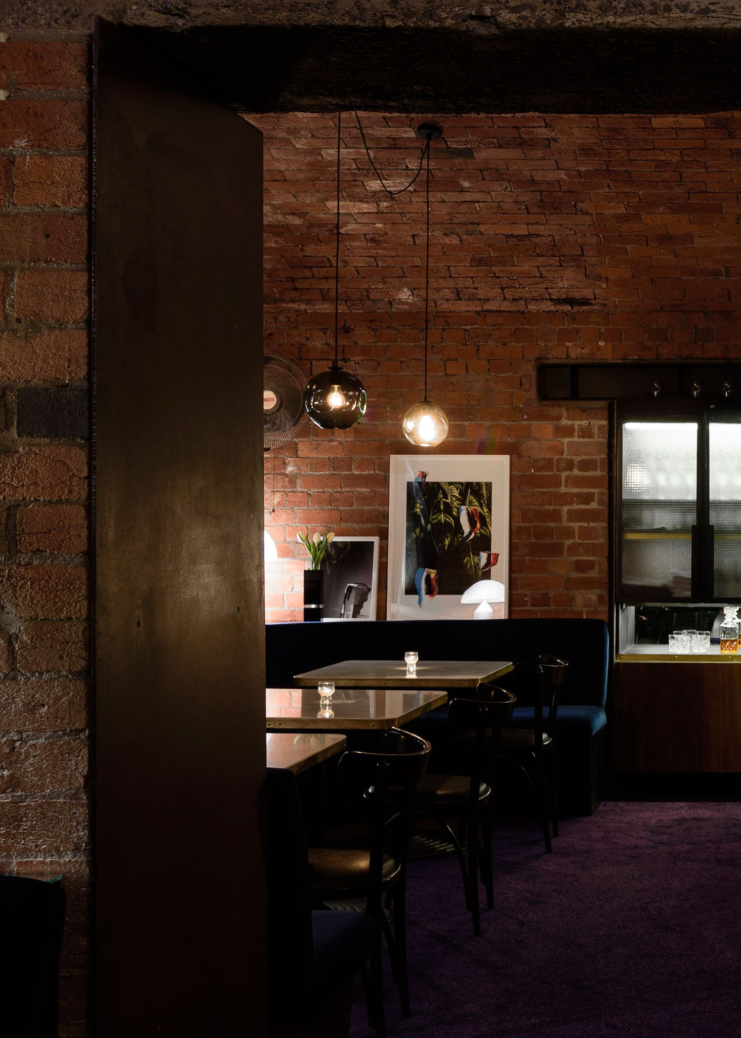 Pilgrim Bar by SETSQUARE STUDIO | Yellowtrace Dark Interiors, Colorful Interiors, Purple Carpet,