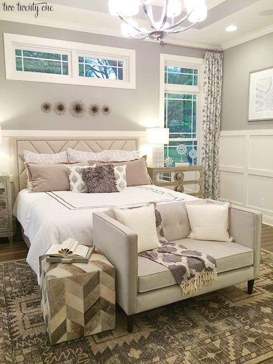 Beautiful Master Bedroom With Soft Gray Purple Color Palette Romantic RomanticBedroom BedroomIdeas