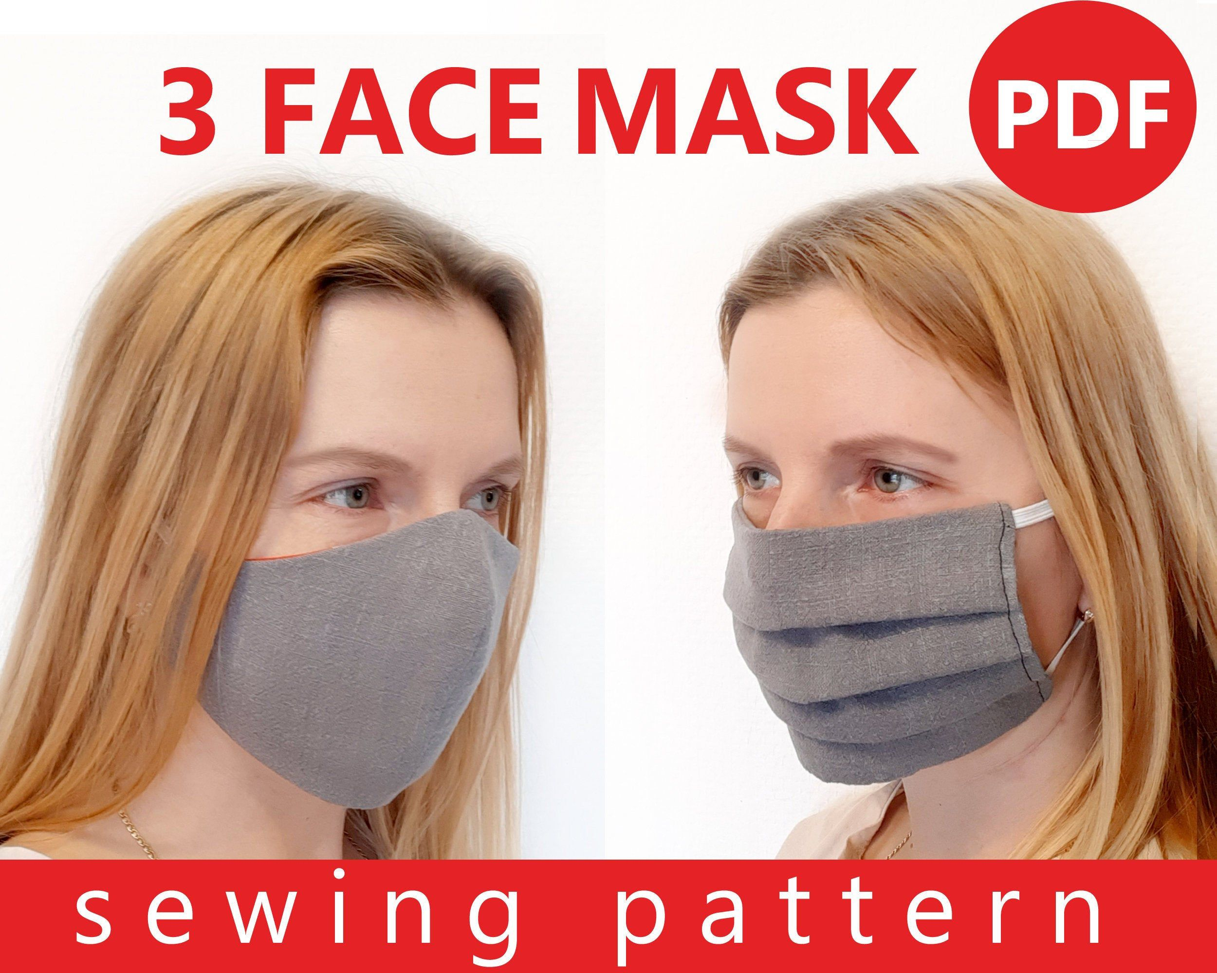 Set Of 3 Face Mask Pattern Sewing Pdf Washable Reusable Cotton