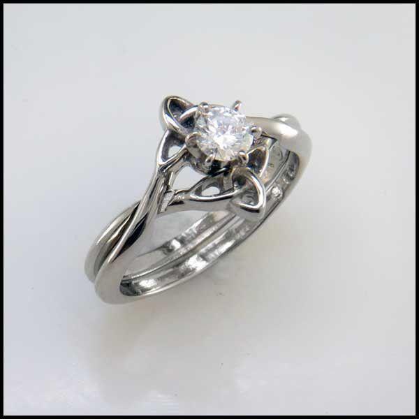 14k gold interlocking celtic wedding band and engagement ring set with a diamond - Celtic Wedding Ring Sets
