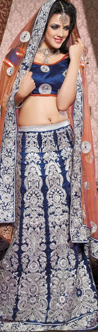 $255.29 Blue Faux Georgette,Net Chaniya Choli 18057 With Unstitched Blouse