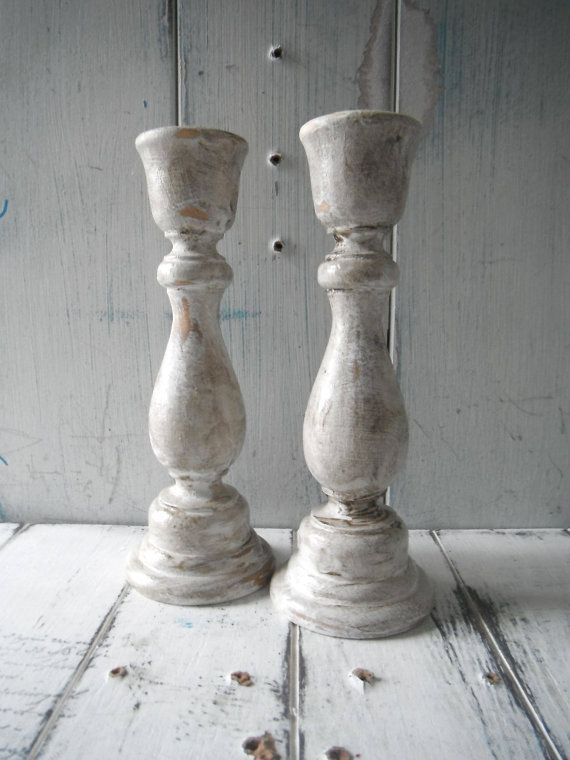 tapered candle holders cottage country rustic by ShabbyRoad