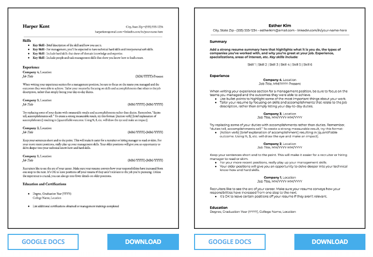 Resume Templates Free Google Docs