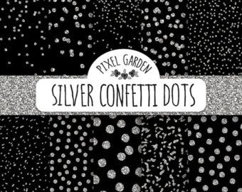 Gold Glitter Confetti Digital Paper. Black by PixelGardenDesign