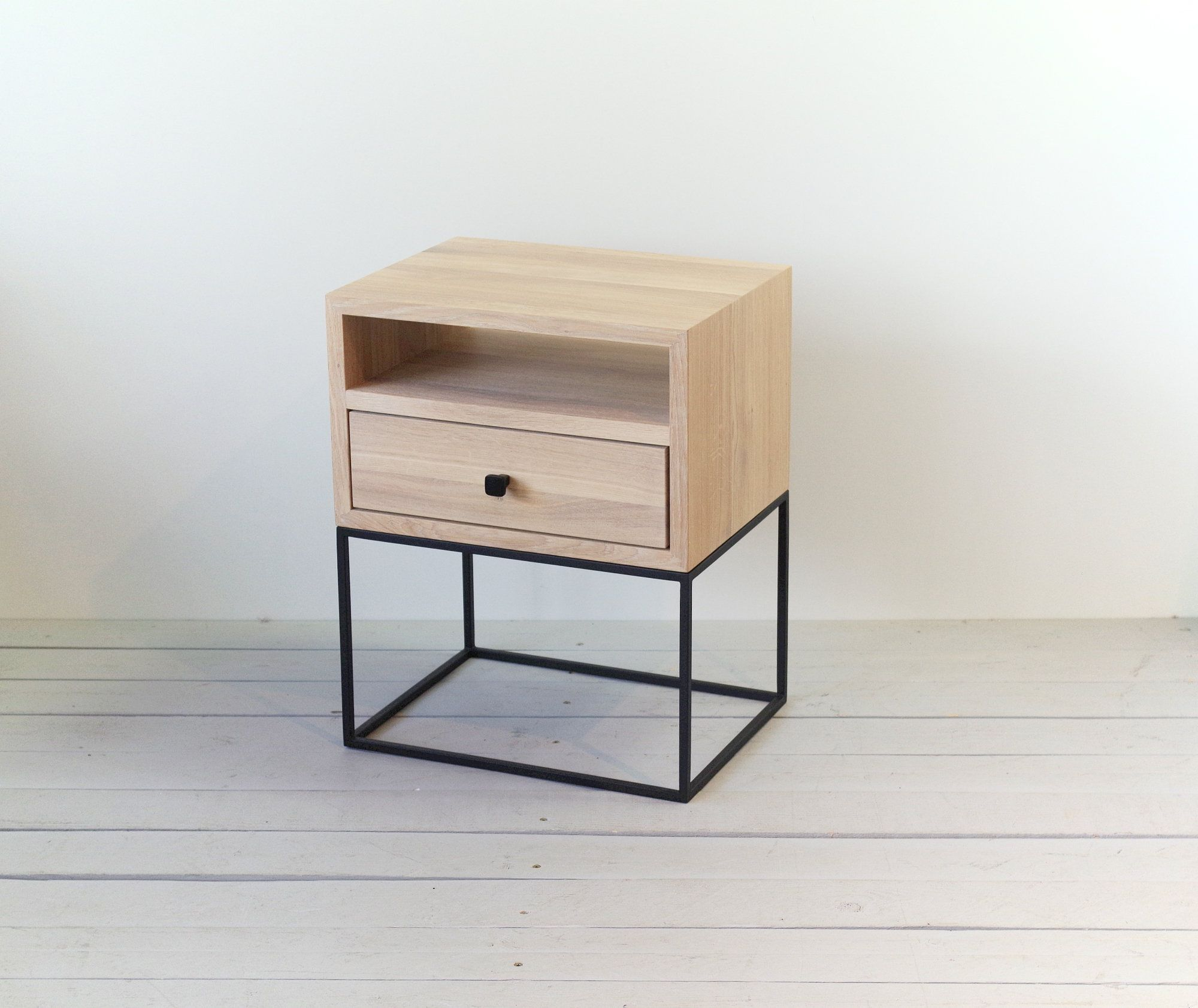 White Oiled Nightstand With Black Metal Legs Mid Century Style