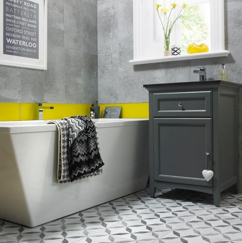 Devon Concrete Mid Grey Wall Tiles 25x50cm Grey Tile Try To Ignore How The Room Is Styled Thi Bathroom Wall Coverings Grey Wall Tiles Wall And Floor Tiles