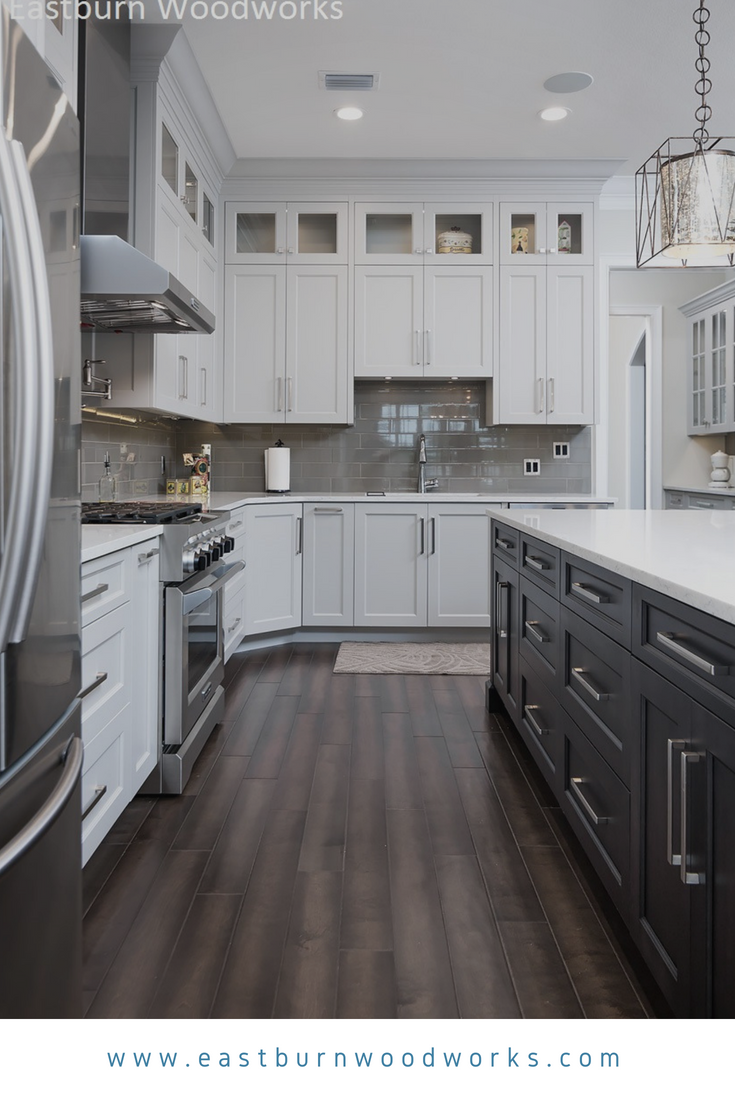 Two Toned Kitchen With White And Black Cabinetry On Shaker Doors By Eastburn Woodworks Dark Kitchen Kitchen Cabinets White Kitchen