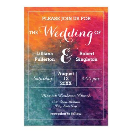 orange blue pink watercolor 3x5 wedding invitation pink watercolor