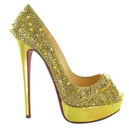 Leap - Christian Louboutin Very Mix 140mm Peep Toe Pumps In Gold 866