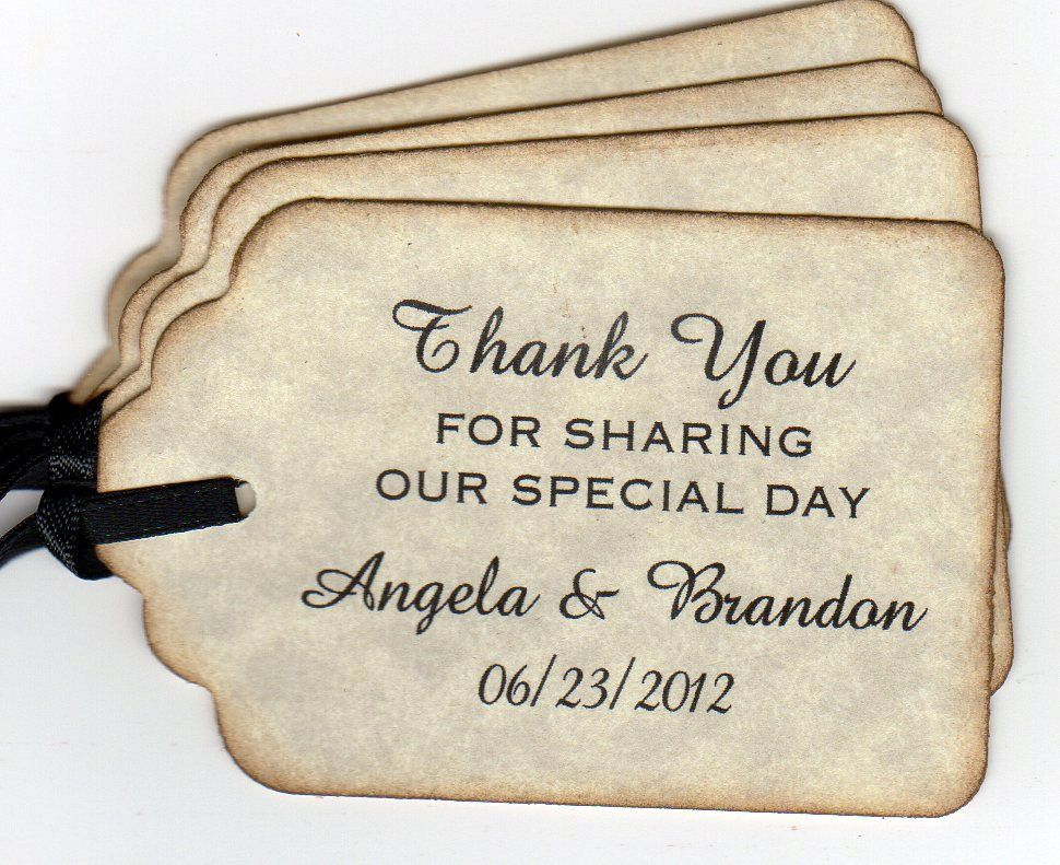 50 Personalized Wedding Favor Gift Tags Shower Thank You Labels Hang Vintage Style