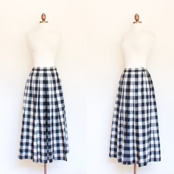 vintage 1980s Liz Claibourne wool gingham midi skirt by inheritedattire