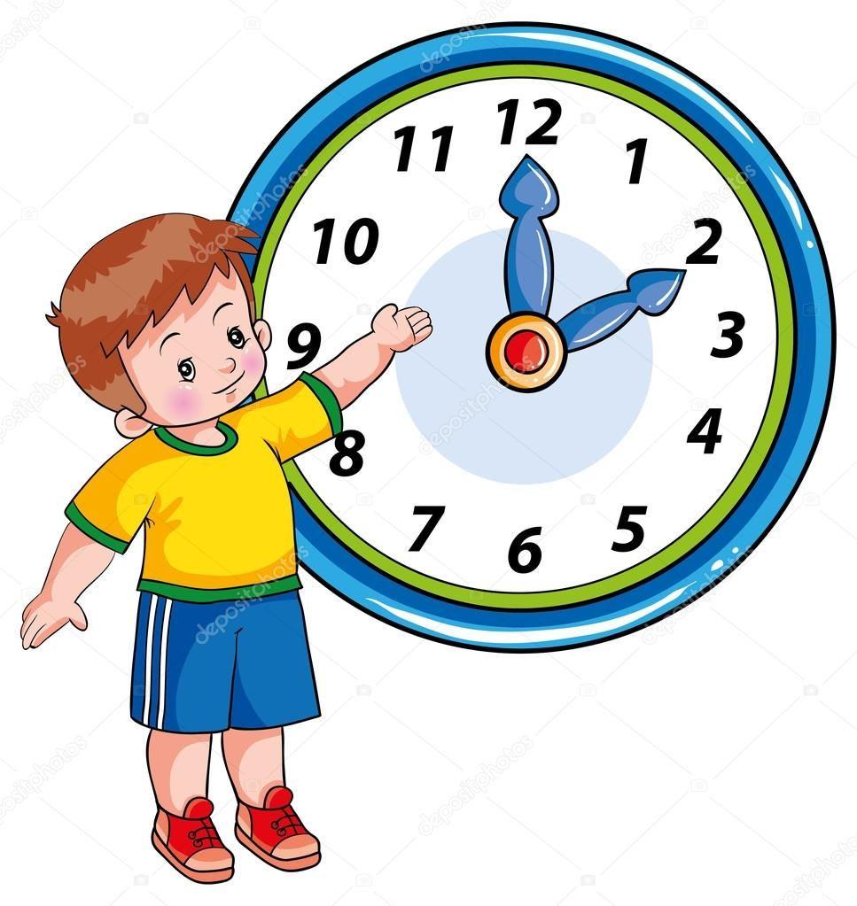 Descargar Nino Y El Reloj Ilustracion De Stock Ninos Reloj Fichas De Matematicas
