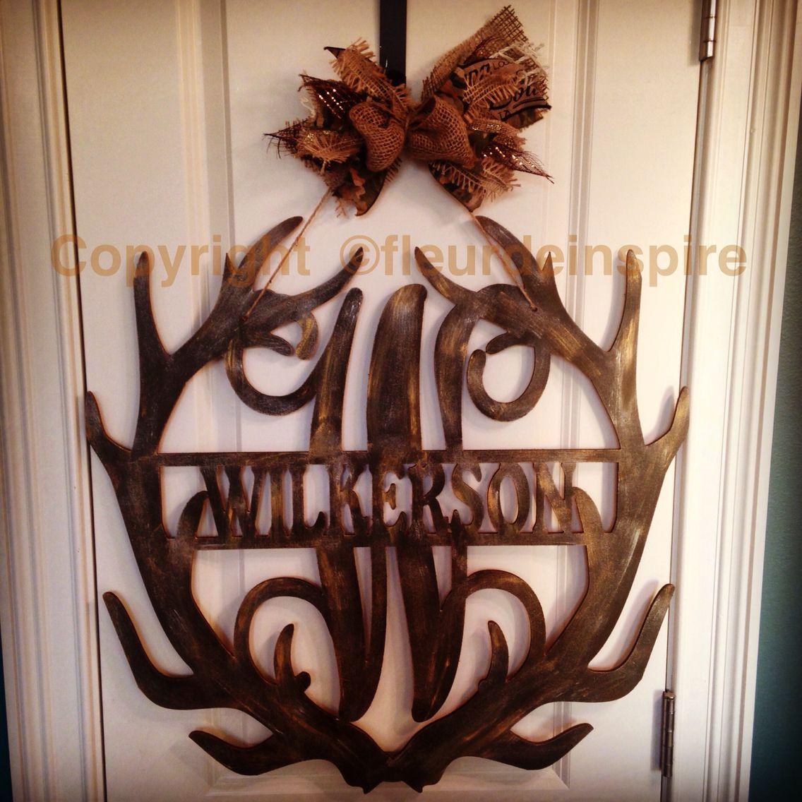 antler monogram with last name door hanger by fleur