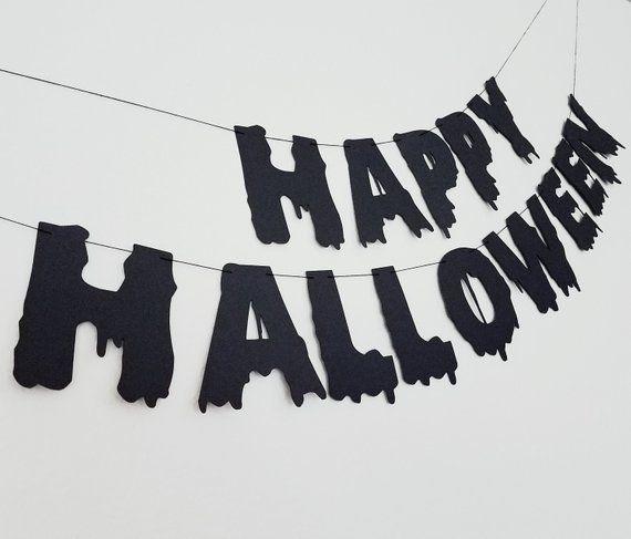 Happy Halloween Banner, Spooky Halloween Banner, Black Halloween Banner, Black Halloween Decorations, Happy Halloween Sign #happyhalloweenschriftzug