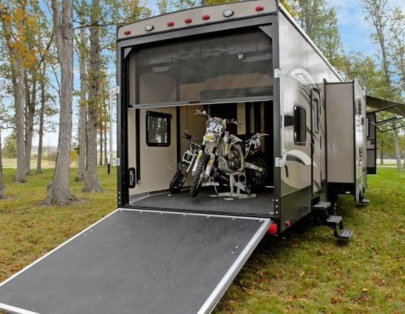 Retractable pull down camper recreation rv toy hauler rear for Pull down retractable screen door