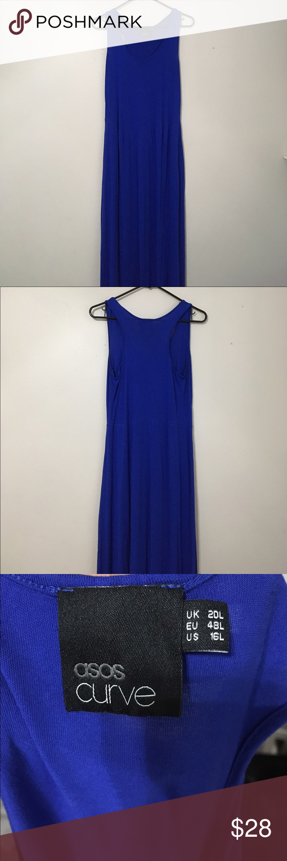 Asos curve blue maxi dress Sz 16L THis is a maxi dress in good used condition. This is a full length dress . Perfect for spring or summer. ASOS Curve Dresses Maxi