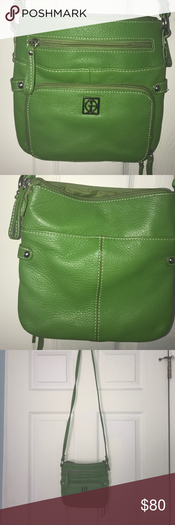 Gian Bernini crossbody with multiple pockets Gian Bernini crossbody with multiple pockets in green. Several outside zippered pockets and pockets with snaps. Several inside pockets and zippered top Giani Bernini Bags Crossbody Bags