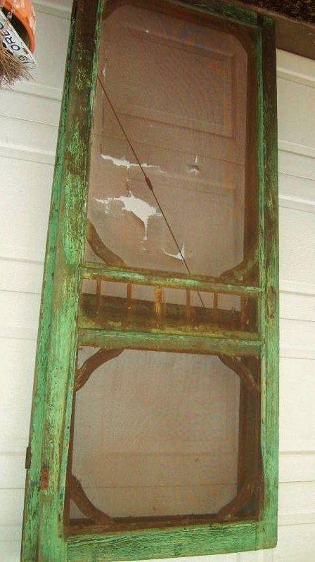Antique Vintage 1880s 1910 Primitive Authentic Victorian Farmhouse Porch Screen Doors Old Green Paint