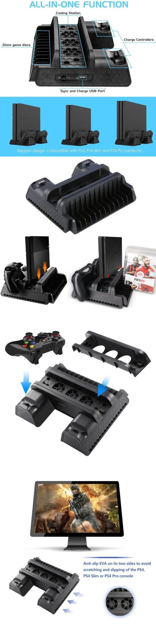 Laptop Cooling Pads 96915 Ps4 Vertical Stand Charging Station