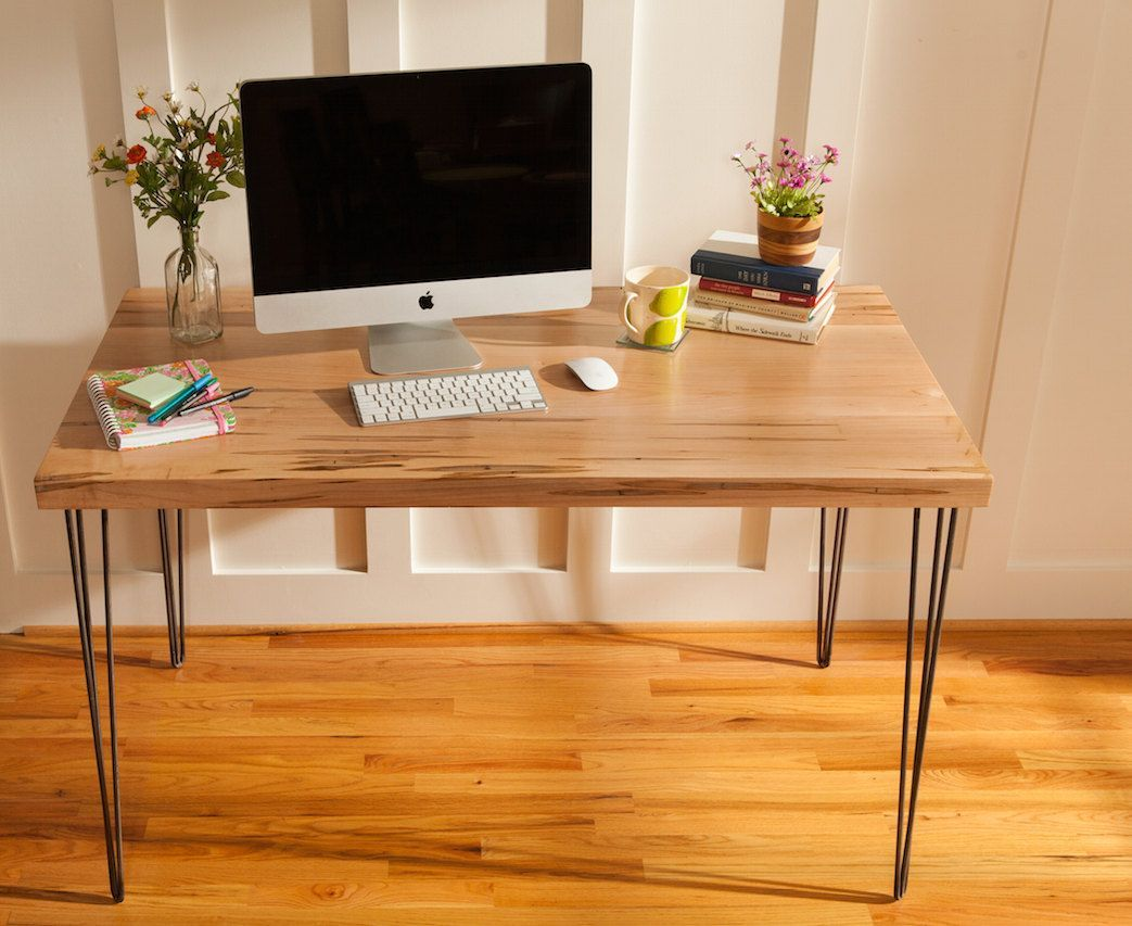 Custom Made Mid Century Modern Desk Featuring An Ambrosia Maple Wood Top With Hairpin Legs