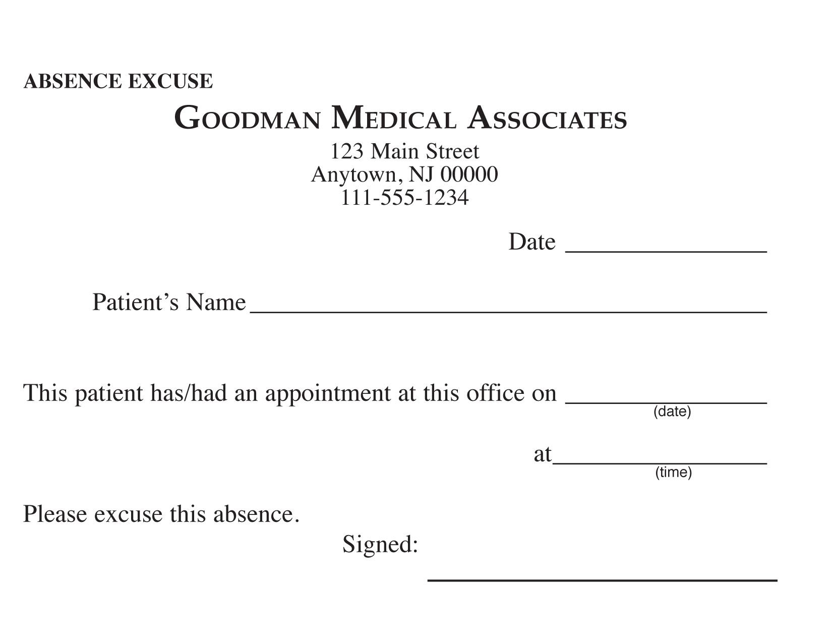 blank printable doctor excuse form