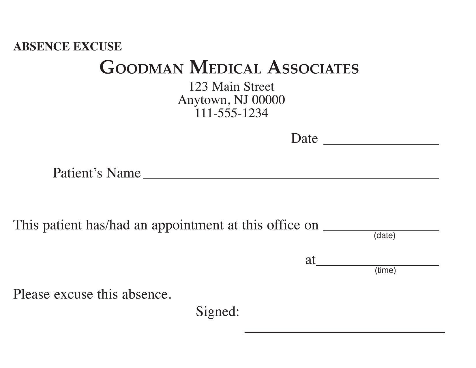 Blank Printable Doctor Excuse Form Keskes Printing